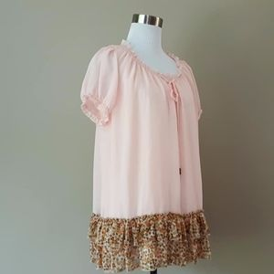Pullover Blouse Penn's Nest Pink Bottom Ruffle